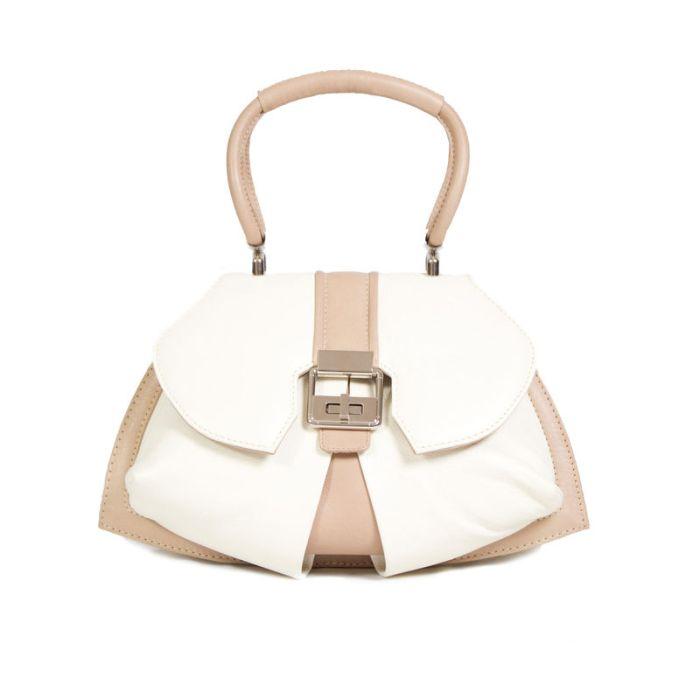 'Anya Sushko London' Modern Extravaganza Handbag in Ivory & Cream