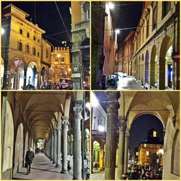 Beautiful Bologna Architecture at night.