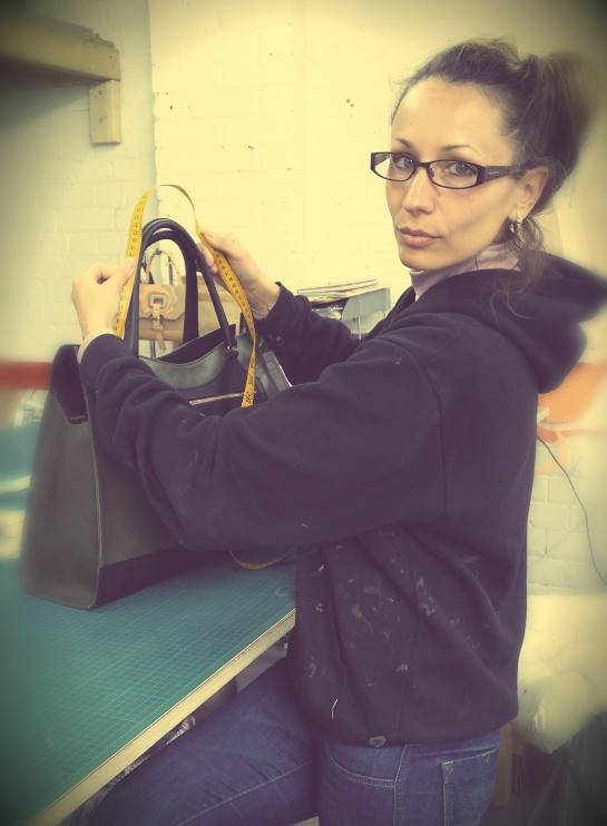 Our Founder and Head Designer Anya measuring up the handles for Lenka's Maxi Karolina handbag.