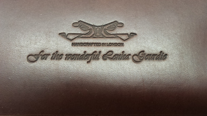 The finishing result on leather of the embossed message