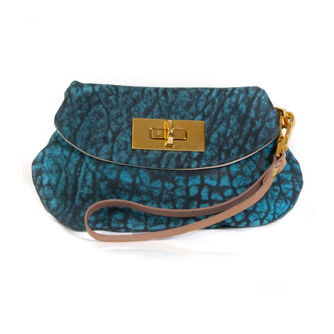 Mini Wristlet in Turquoise and Cream