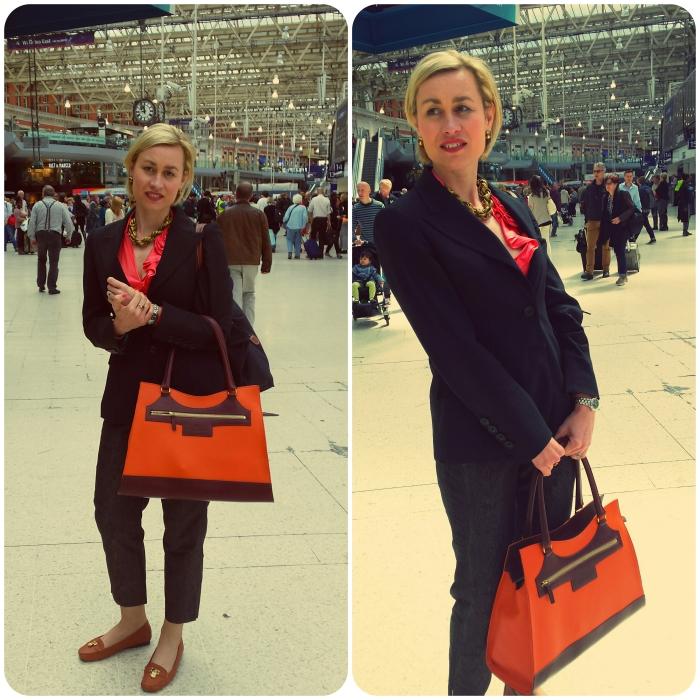 The lovely Lenka Gourdie with her bespoke Maxi Karolina handbag