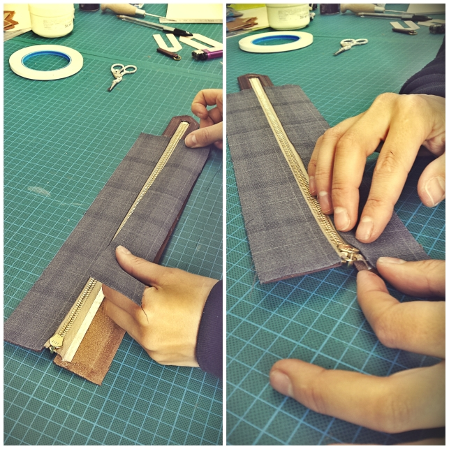 Preparing the zipper to be attached on body