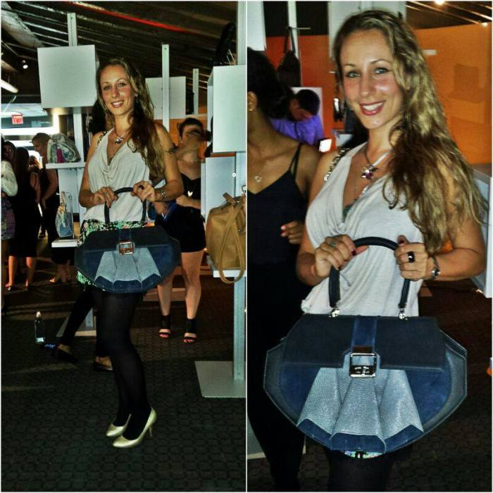 Anya Sushko proudly showcasing the shortlisted Deco Dame bag, which has been especially handcrafted for the IHD Awards earlier this year