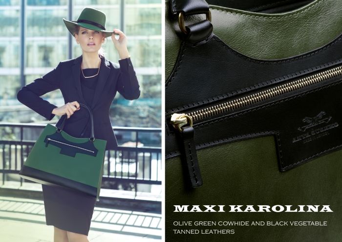 Anya Sushko Maxi Karolina in Olive Green and Black Leather