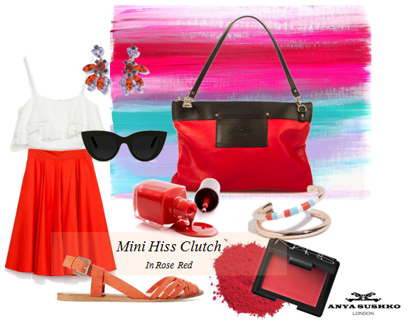 Summer styling tips for the Mini Hiss Clutch in Rose Red