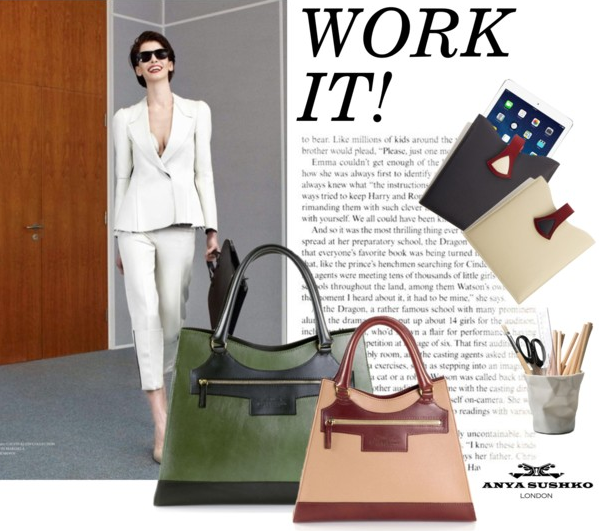 Maxi Karolina in Olive Green and Karolina Bag in Beige and Brown Leather