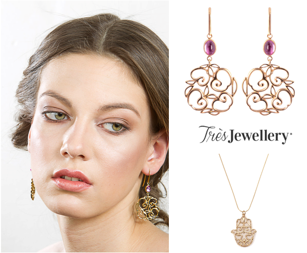Apple Earrings and Pearl Hamsa Necklace
