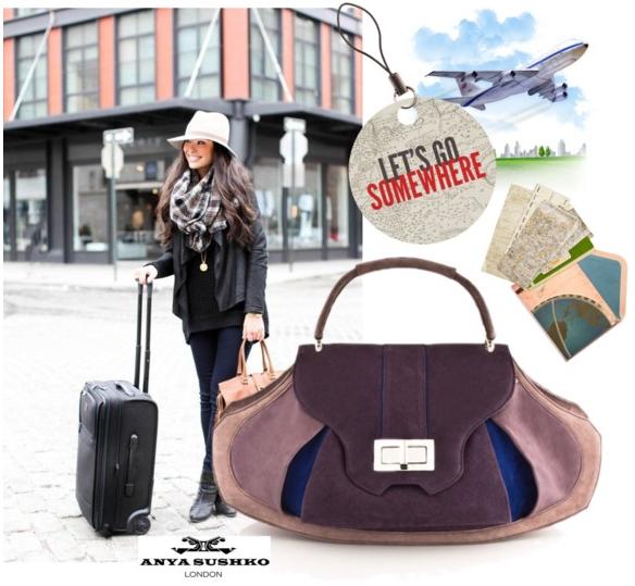 The Grande Sunburst Travel Handbag in Purple.